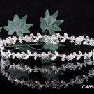 Twin Vine Wedding Tiara,Elegant Princess Silver Rhinestone Bride Headband Bridal tiara 4898