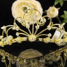 Alloy Floral Wedding Tiara,Elegant Princess Golden Rhinestone Bride Headband Bridal tiara 5261g