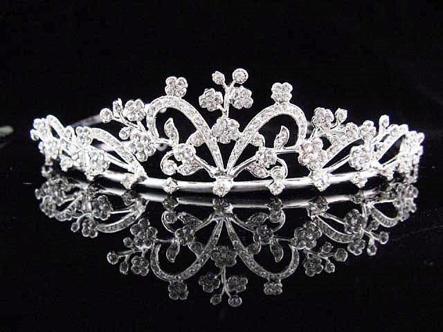 Alloy Floral Wedding Tiara,Elegant Princess Silver Rhinestone Bride Headband Bridal tiara 4737