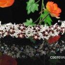 Alloy Stunning Wedding Tiara,Silver Rhinestone Red Floral Bride Headband, Bridal tiara 701r