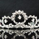 Sparkling Silver Plated Crystal and Rhinestone Pearl Accented Bridal Tiara 4287