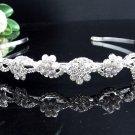 Stunning Crystal Rhinestone Bridal Tiara;Silver Serpent Pearl Wedding Headband Comb 48s
