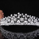 The Queen Silver Crystal Wedding Tiara,Floral Bridal Headpiece,Comb 439