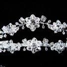 Double vine Silver Crystal Wedding Headpiece ,Floral Bridal Tiara,Comb 594