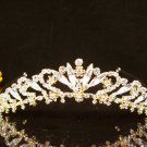 Golden Crystal Wedding Headband; Gorgeous Bridal Tiara,Crown 2242g