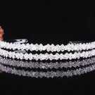 Crystal Twin Wedding Headband ;elegance Pink Silver Bridal Tiara 4056p