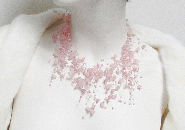 Acrylic Plastic Floating Necklace,Airy Irregular Multi strand Pattern Crochet Choker Necklace#pn1p