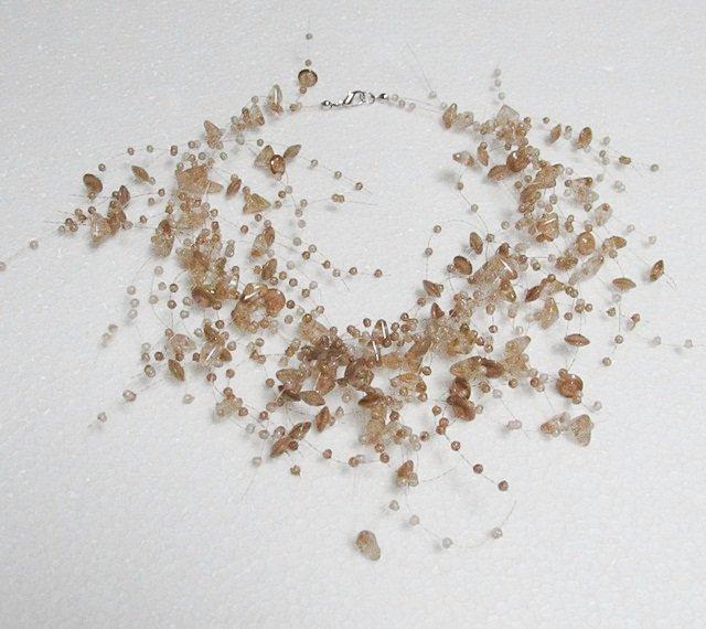 Acrylic Plastic Floating Necklace,Airy Irregular Multi strand Pattern Crochet Choker Necklace#pn8br