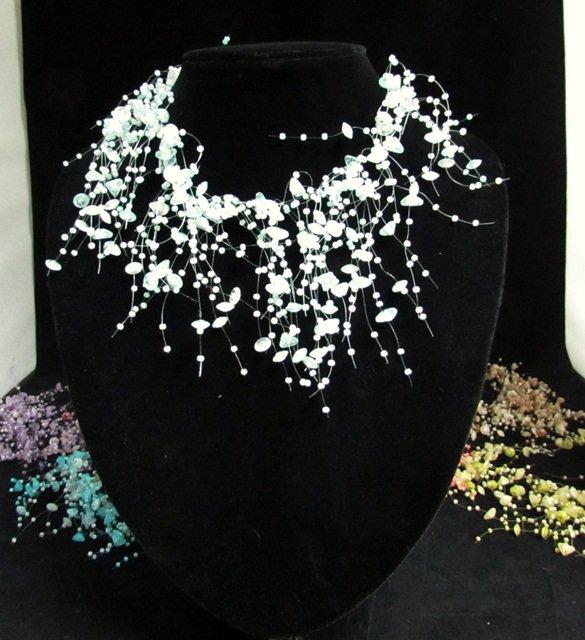 Acrylic Plastic Floating Necklace,Airy Irregular Multi strand Pattern Crochet Choker Necklace#pn10LB
