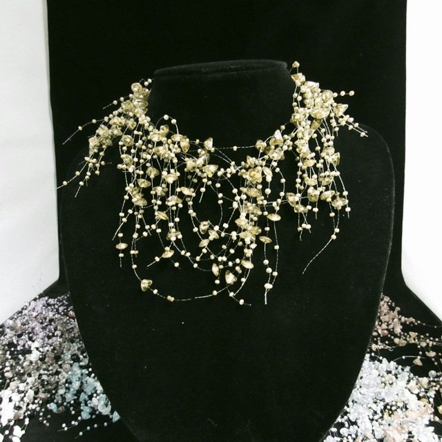 Acrylic Plastic Floating Wave Airy Irregular Multi strand Pattern Crochet Choker Necklace#pn11DGR