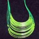 Glass Bugle Floating Wave Irregular Multi strand Pattern Crochet Choker Necklace#pn14gr