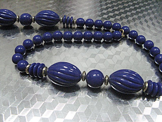 Acrylic Choker Necklace;Vintage Royal Almond Assorted Bead Necklace #ID27