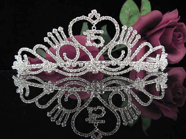 Crystal Happy Birthday Tiara Sweet 15 ;Silver Sweetheart Crown Regal #26