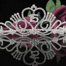 Crystal Happy Birthday Tiara Sweet 15 ;Silver Sweetheart Crown Regal #26