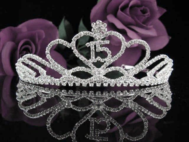 Crystal Happy Birthday Tiara Sweet 15 ;Silver Sweetheart Crown Regal #27