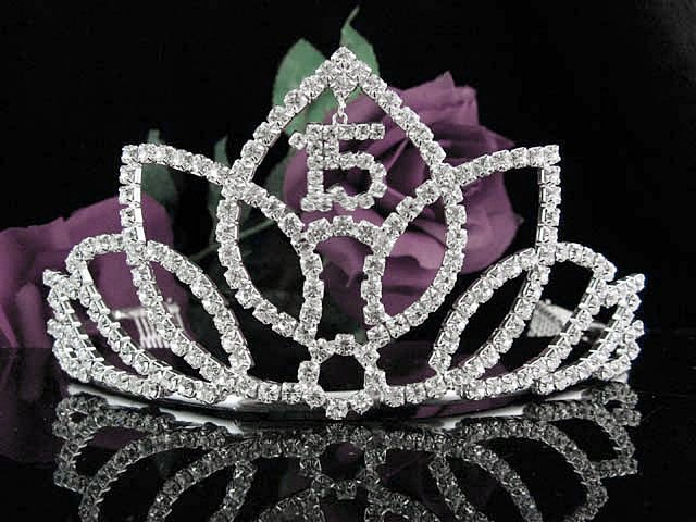Crystal Happy Birthday Tiara Sweet 15 ;Silver Sweetheart Crown Regal #29
