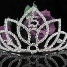 Crystal Happy Birthday Tiara Sweet 15 ;Silver Sweetheart Crown Regal #29