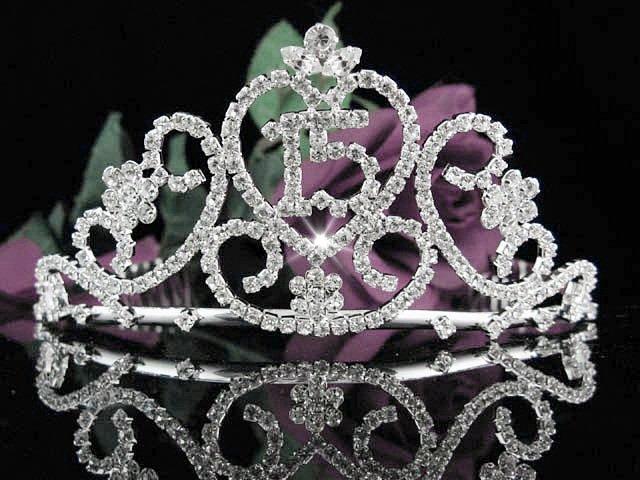 Crystal Happy Birthday Tiara Sweet 15 ;Silver Sweetheart Crown Regal #30