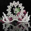 Happy Birthday Sweet 15 Crystal Princess Tiara;Silver Crown Regal #1