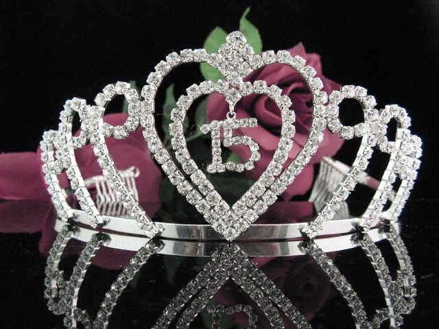 Happy Birthday Sweet 15 Crystal Princess Tiara;Silver Crown Regal #2