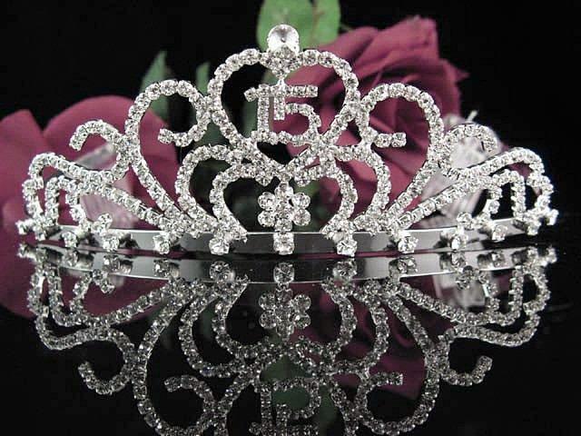 Happy Birthday Sweet 15 Crystal Princess Tiara;Silver Crown Regal #4