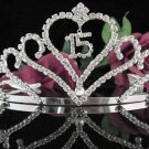 Happy Birthday Sweet 15 Crystal Princess Tiara;Silver Crown Regal #6
