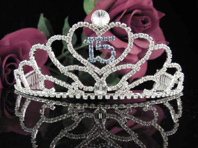 Sweet 15 Crystal Princess Happy Birthday Tiara;Silver Crown Regal #7