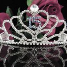 Sweet 15 Crystal Princess Happy Birthday Tiara;Silver Crown Regal #7