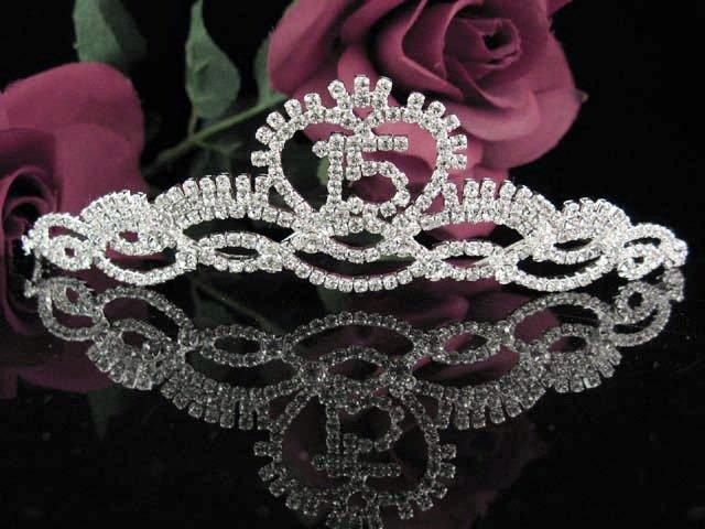 Sweet 15 Crystal Princess Happy Birthday Tiara;Silver Crown Regal #11
