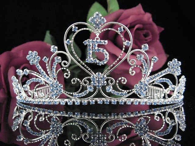 Sweet 15 Crystal Princess Happy Birthday Tiara;Silver Crown Regal #12