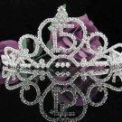 Crystal Happy Birthday Tiara Sweet 15 ;Silver Sweetheart Crown Regal #31