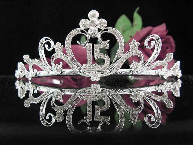 Sweet 15 Crystal Happy Rhinestone Birthday Tiara;Alloy Silver Sweetheart Crown Regal #25