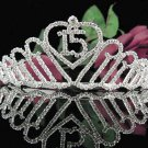 Sweetheart Sweet 15 Crystal Happy Rhinestone Birthday Tiara;Silver Sweetheart Stone Crown Regal #24