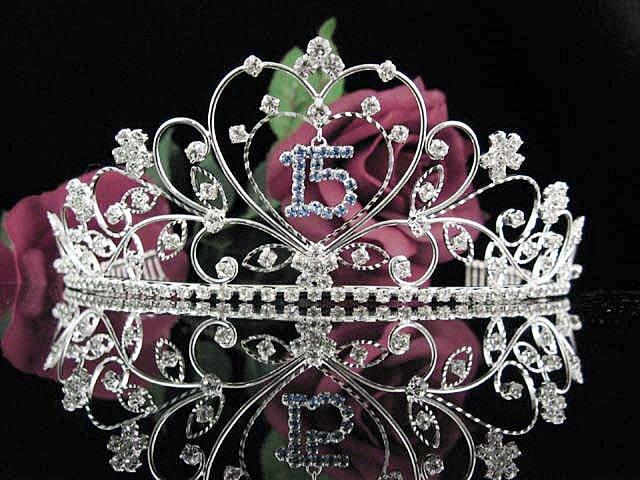 Sweetheart Sweet 15 Crystal Happy Rhinestone Birthday Tiara;Silver Sweetheart Stone Crown Regal #23