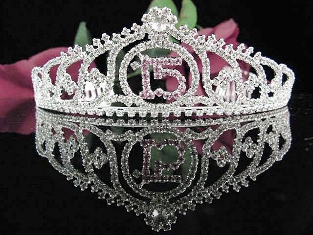 Sweetheart Sweet 15 Crystal Happy Rhinestone Birthday Tiara;Silver Sweetheart Stone Crown Regal #22