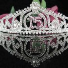 Sweetheart Sweet 15 Crystal Happy Rhinestone Birthday Tiara;Silver Sweetheart Stone Crown Regal #22