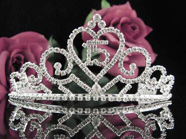 Sweet 15 Crystal Princess Happy Birthday Tiara;Silver Grey Stone Crown Regal #15