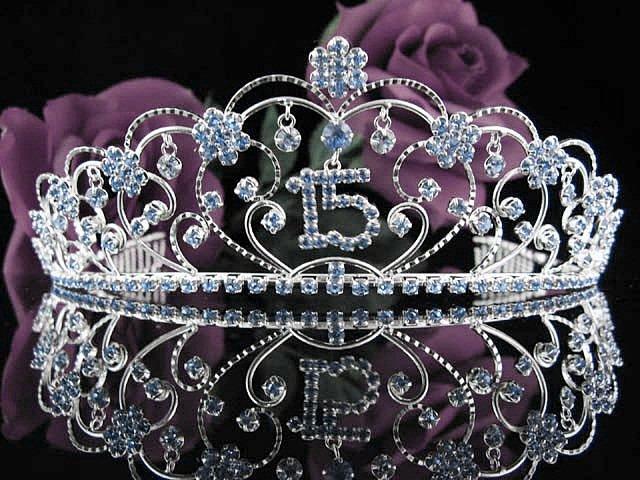 Huge Crystal Happy Birthday Tiara Sweet 15 ;Silver Sweetheart Crown Regal #34b