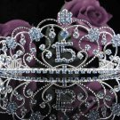 Huge Crystal Happy Birthday Tiara Sweet 15 ;Silver Sweetheart Crown Regal #34b