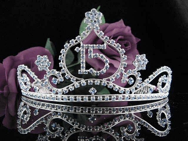 Huge Sweet 15 Crystal Happy Birthday Tiara ;Silver Sweetheart Crown Regal #36b