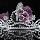 Huge Sweet 15 Crystal Happy Birthday Tiara ;Silver Sweetheart Crown Regal #36b