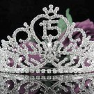 Huge Sweet 15 Crystal Happy Birthday Tiara ;Silver Sweetheart Crown Regal #37