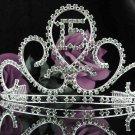 Huge Sweet 15 Crystal Green Happy Birthday Tiara ;Silver Sweetheart Crown Regal #38gr