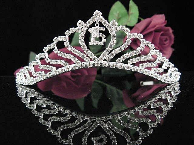 Fancy Sweet 15 Crystal Happy Birthday Tiara ;Silver Sweetheart Crown Regal #39