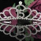 Cute Sweet 15 Crystal Happy Birthday Tiara ;Delicate Silver Sweetheart Crown Regal #45
