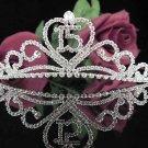 Cute Sweet 15 Crystal Happy Birthday Tiara ;Delicate Silver Sweetheart Crown Regal #46