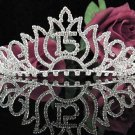 Cute Sweet 15 Crystal Happy Birthday Tiara ;Delicate Silver Sweetheart Crown Regal #48s