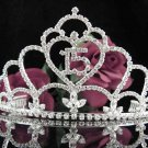 Huge Sweet 15 Crystal Happy Birthday Tiara ;Delicate Silver Sweetheart Crown Regal #49