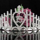 Huge Sweet 15 Crystal Happy Birthday Tiara ;Delicate Silver Sweetheart Crown Regal #52