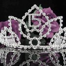 Huge Sweet 15 Crystal Happy Birthday Tiara ;Delicate Silver Sweetheart Crown Regal #54